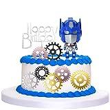 Caricatura Cake Topper - YUESEN Transformers Decoración para tarta de feliz cumpleaños ,Mini Juego de Figuras Niños Mini Juguetes Fiesta de cumpleaños Pastel Decoración Suministros