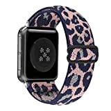 Adjustable Stretchy Solo Loop Nylon Strap Compatible with Apple Watch Elastic Band 38mm 40mm iWatch Series SE/6/5/4/3/2/1 (Pink Leopard, 38mm/40mm)