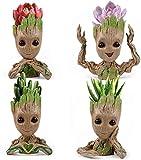 Treeman - Juego de 4 macetas suculentas para bebé, diseño de plantas verdes, ideal como regalo de graduación para ella, 4 estilos (plantas no incluidas)