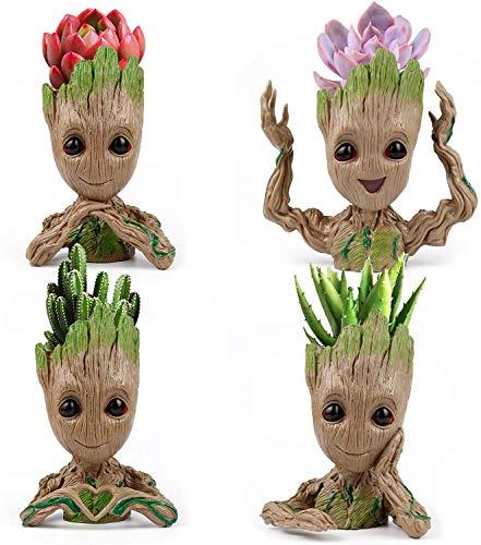 Lot de 4 pots de fleurs Treeman pour bébé Groot Pot de fleurs Succulent Pot de fleurs Mignon Plantes Vertes Pot de Crayon Porte-crayons, Cadeau d'anniversaire pour elle 4 styles (plantes non incluses)