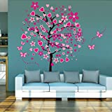ElecMotive Huge Size Cartoon Heart Tree Butterfly Wall Decals Removable Wall Decor Decorative Painting Supplies & Wall Treatments Stickers for Girls Kids Living Room Bedroom