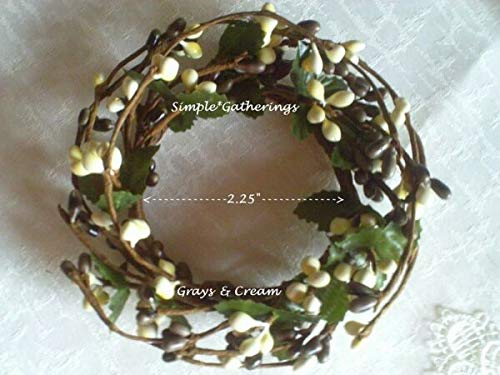 NIMBOD - Holiday, Seasonal Decor Supplies for Pip Berry Candle Ring Grays Cream Gray 2.25' Farmhouse Cottage Crafts Berries for Christmas Decorations, Wall, Door, Home Décor