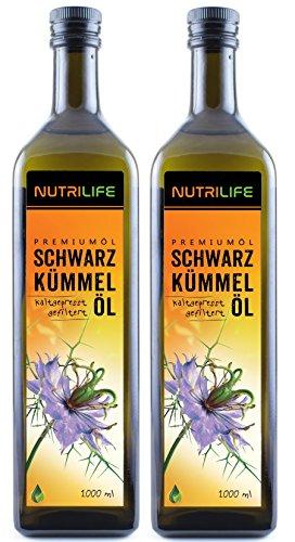 Nutrilife - Schwarzkümmelöl gefiltert 2Liter - 100{ae9a2fbd673af4d9c92cee9b469bad42528482ab6c793bfa5148a5e7bac9036c} pur, kaltgepresst, aus ägyptischen Samen - Frischegarantie: täglich mühlenfrisch direkt vom Hersteller Kräuterland(2x1000ml)