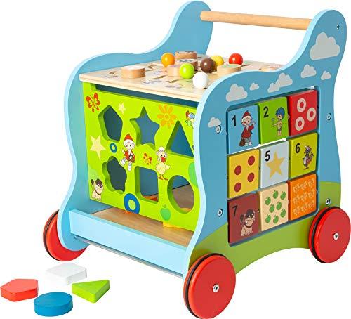 small foot 11840 Lauflernwagen - Unser Sandmännchen - aus Holz, 4-seitiger Spielspaß, mehrfarbig, ab 1 Jahr