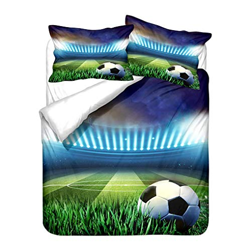 966 3D Bedding set Football Soft Duvet Cover and Pillowcase White Red Green Blue Microfiber Quilt Cover With Zipper (Style 1,King 220x240 cm)