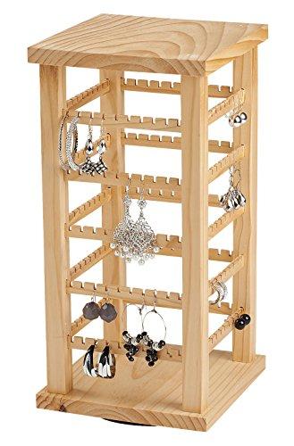 SSWBasics Earring Display - Wood Display Carousel - Rotating