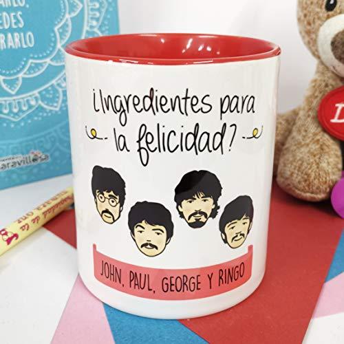 La Mente es Maravillosa - Taza con Frase y dibujo. Regalo original y gracioso (¿Ingredientes para la felicidad? John, Paul, George y Ringo) Taza Los Beatles