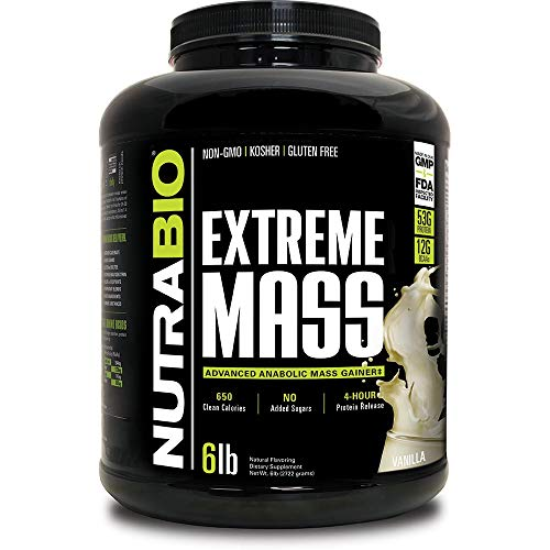 NutraBio Extreme Mass 6 lbs (Vanilla) – High Calorie Mass Gainer Supplement