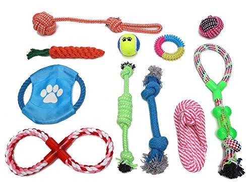 HOGAR AMO 11pcs Hundespielzeug Kauspielzeug Baumwollknoten Seil Spielset Hund/Katze Bunt Wurfspiel Training Spielzeuge für Kleine/Mittlere Haustiere