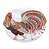 IBILIU Fiery Rooster Bar Stool Covers Round,Cock Farm Animal Grunge African Indian Totem bar Chair Cushion Covers Stretch Stool Seat slipcover Removable for Home Bar 14 Inch