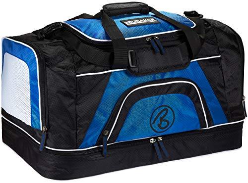 Brubaker 'Big Base' XXL Sporttasche 90 L mit großem Nassfach als Bodenfach + Schuhfach - Schwarz/Blau