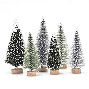 Haodeba 18Pcs Miniature Pine Trees Sisal Trees with Wood Base Christmas Tree Set Tabletop Trees for Miniature Scenes Christmas Crafting and Designing Mixed Size