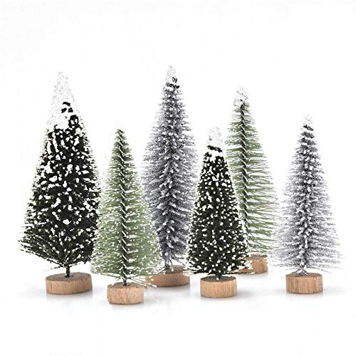 Haodeba 18Pcs Miniature Pine Trees Sisal Trees with Wood Base Christmas Tree Set Tabletop Trees for Miniature Scenes, Christmas Crafting and Designing, Mixed Size