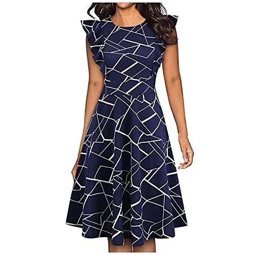 Nuevo 2021 Vestidos Cortos para Mujer, Moda Elegante Vestido Verano Casual Color sólido Flores impresión...