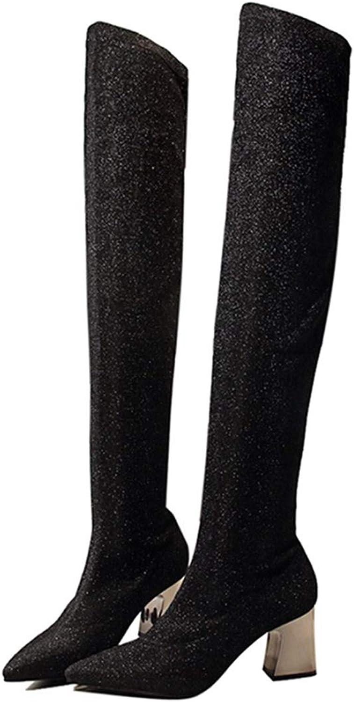 DOSOMI DOSOMI DOSOMI kvinnor Autumn Winter Stretch mocka Fabric Chunky Metal Heel Thigh High Over The Knee stövlar  kostnadseffektiv