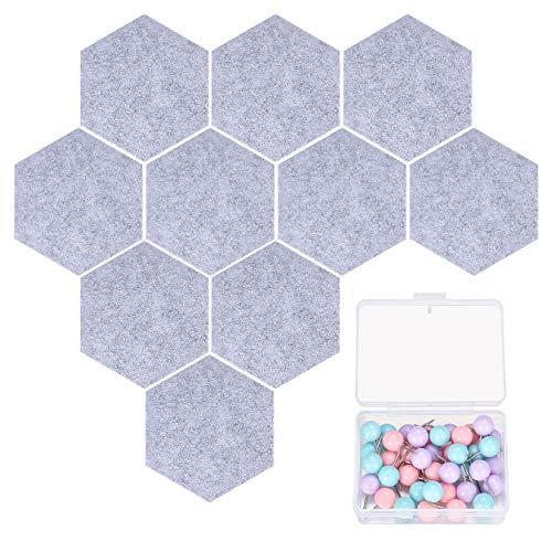 10 Stück Hexagon Schwarzes Brett, Korkfliesen aus Filz, Pinnwand-Wanddekoration für Fotos, Memos, Anzeige, einschließlich 40 Stifte