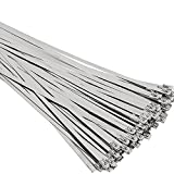 SunplusTrade 100pcs 11.8 Inches Stainless Steel Exhaust Wrap Multi-Purpose Locking Cable Metal Zip Ties