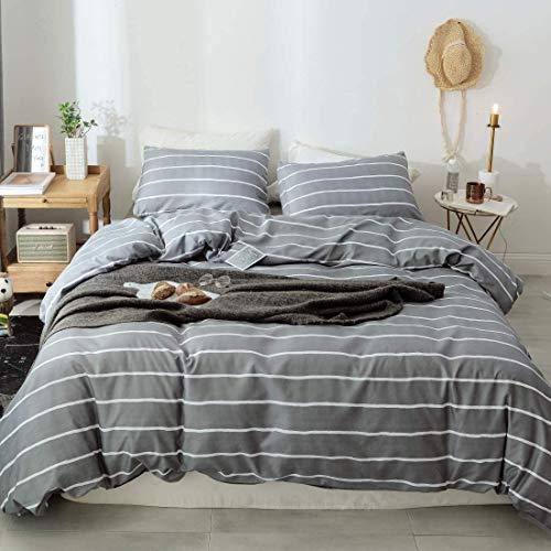 Bettwäsche Gestreift 135x200cm Grau Weiß Streifen Bettwäsche Set Microfaser 2TLG. Bettbezug mit Reißverschluss und Kissenbezug 80 x 80 cm
