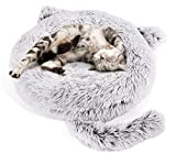 Pecute Lit Chat Rond en Peluche Coussin Chiots Panier pour Petit Animal de Domestique Lavable Antidérapant (55 * 15cm)