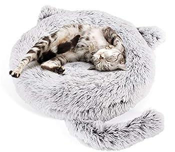Pecute Lit Chat Rond en Peluche Coussin Chiots Panier pour Petit Animal de Domestique Lavable Antidérapant (55 * 15cm)