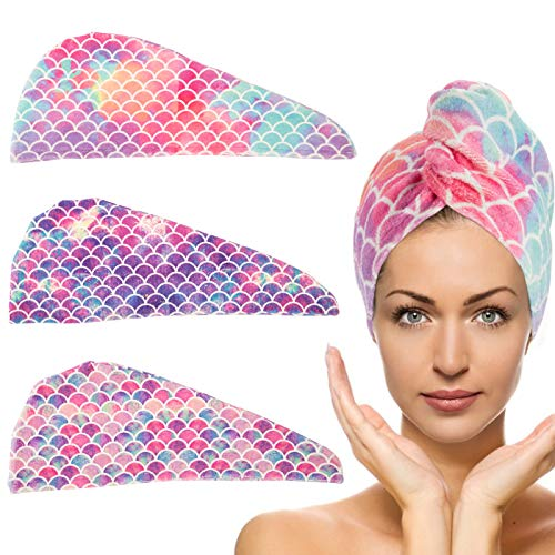 3 Pack Microfiber Hair Drying Towel- Super Absorbent Instant Hair Dry Wrap with Button Anti Frizz Soft Bath Shower Cap Head Towel for Girls Women Ladies Kids Long & Thick Hair Drying Quickly (Mermaid)