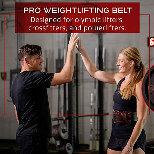 Dark Iron Fitness Genuine Leather Pro Weight Lifting Belt for Men and Women - Durable Comfortable and Adjustable with Buckle - Stabilizing Lower Back Support for Weightlifting