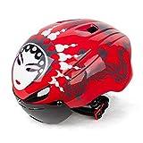 MFFACAI Casco de Montar a Bicicleta Espejos magnéticos Casco de máscara de ópera de Pekín Casco de Bicicleta de montaña Integrado con indicador de Seguridad, 001