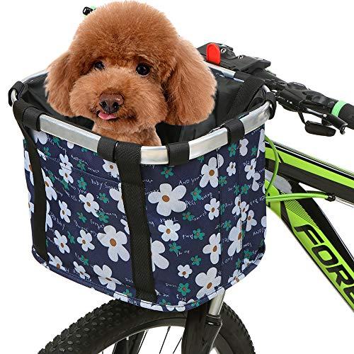 Lixada Cesta de bicicleta plegable pequeña para mascotas, bolsa de transporte para perros, manillar de bicicleta extraíble, bolsillo delantero para bicicleta, bolso de mano
