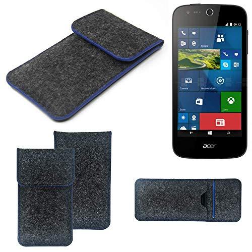 K-S-Trade Handy Schutz Hülle Für ACER Liquid M330 Schutzhülle Handyhülle Filztasche Pouch Tasche Hülle Sleeve Filzhülle Dunkelgrau, Blauer Rand