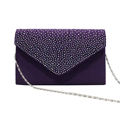 Sac À Main Femmes Sac À Main en Satin Dames Mode Enveloppe Épaule Dîner Sac Pochette Fête Sacs De Soirée Violet