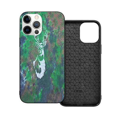 Compatible with iphone 12 Pro Max 6.7-inch Case, Tie Dye Forest Camouflage Buck Deer Head Batik Soft Non-Slip TPU Protective Iphone Phone Case Cover