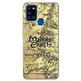 Movilshop Funda para [ Samsung Galaxy A21s ] LOTR Oficial [Mapa Tierra Media] Tolkien de Silicona Flexible Transparente Carcasa Case Cover Gel para Smartphone.