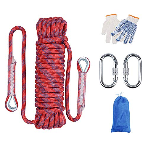 Huatuo® Outdoor-Kletterseil, Abseilseil, Outdoor-Ausflüge, Zubehör, 12 mm Durchmesser, hohe Widerstandsfähigkeit, Seil mit zwei Karabinern (30 m, rot)