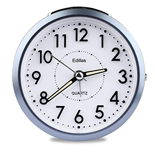 Edillas Wecker Analog,[Aktualisierung] Wecker Analoger, leiser Wecker Geräuschlos Ohne Ticken Reisewecker Batteriebetrieben Schlummer mit Lichtwecker Tragbarer Wecker für Nachttisch