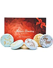 Cleverfy Shower Steamers Aromatherapy - Variety Pack of 6 Shower Bombs. Red Set: Peppermint, Lavender, Pomegranate & Rose, Vanilla & Sweet Orange, Menthol & Eucalyptus, Lemongrass & Coconut