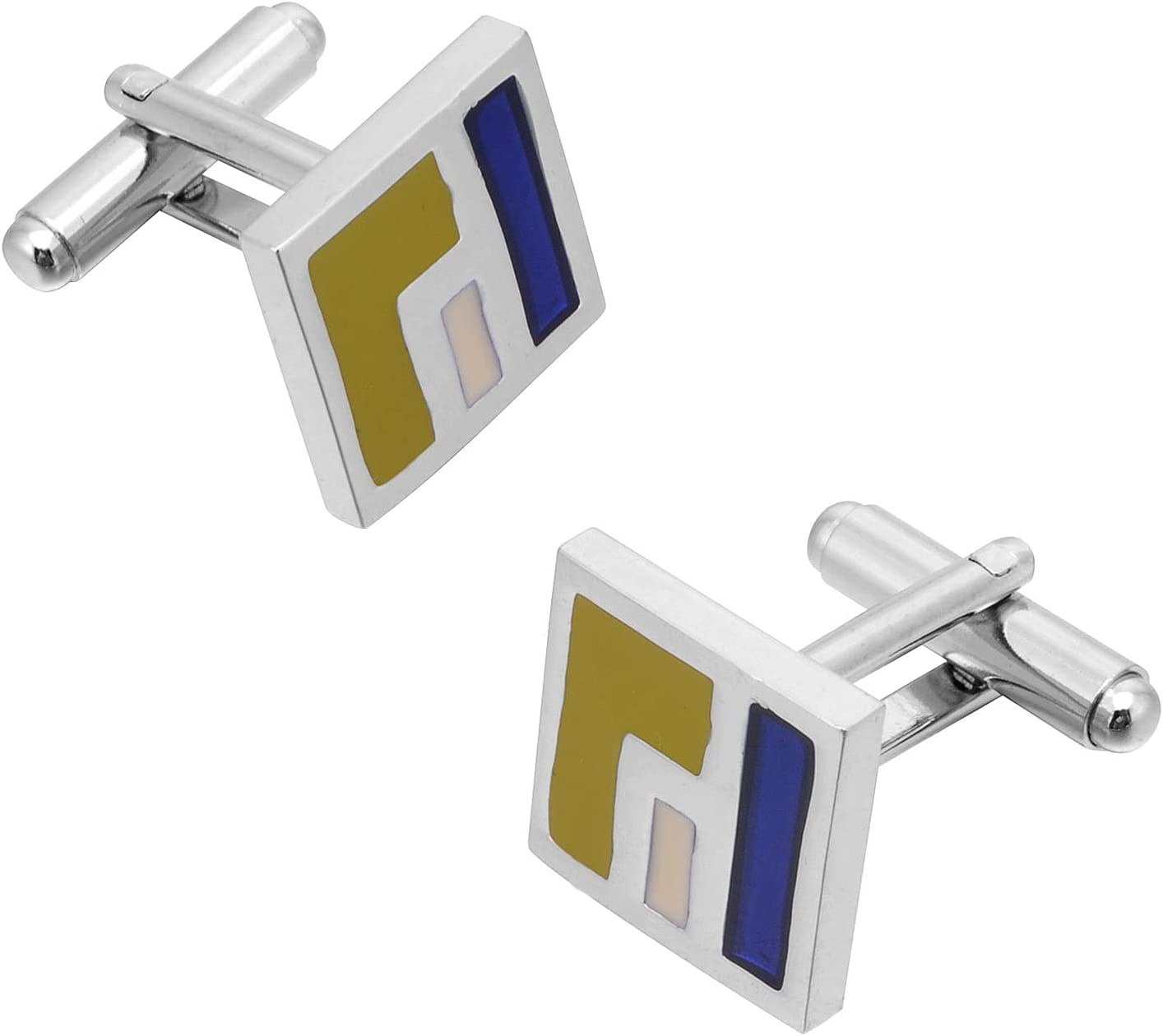BO LAI DE Men's Cufflinks Fun Geometric Square Color Glazed Cuff Links Shirt Cufflinks Suitable for Wedding Business Luxury Tuxedo Formal Shirts, with Gift Box