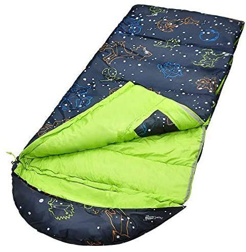 AceCamp Youth Sleeping Bag, Glow-in-The-Dark Sleeping Bag for Kids and Youth, Portable Water-Resistant Kids Sleeping Bag, Temp Rating 30F/ -1℃, for Camping, Hiking, Slumber Party
