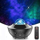 Proyector de Estrellas, 2 en 1 LED Cambiar Color Reproductor de Música con Bluetooth Temporizador, Lámpara Luces Nocturnas de Nebulosa Giratorio con Control Remoto, Niños/Decoración/Regalo