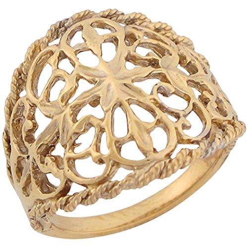 14k Yellow Gold Filigree Regal Celtic Designer Unique Ladies Ring