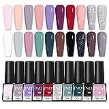 PVOY Juego de esmalte de uñas de gel de 20 colores Soak Off 7.3ml Nail Salon UV LED Kit de manicura de esmalte de uñas de gel