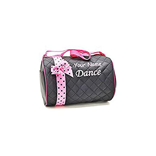 Personalized Quilted Black and Baby Pink Dance Duffel Gym Bag 88a4b376ac248
