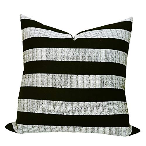 SLOW COW Decorative Throw Pillow Cover Modern Farmhouse Stripe Cushion Cover for Couch Sofa Bed Decoration 20 x 20 inches Black