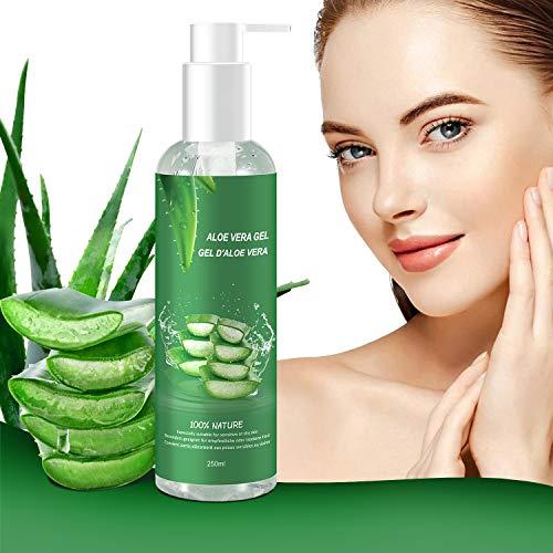 Aloe Vera Gel - 100% Bio für Gesicht, Haare und Körper - Natürliche, beruhigende und pflegende Feuchtigkeitscreme - Ideal für trockene, strapazierte Haut & Sonnenbrand - 250ml