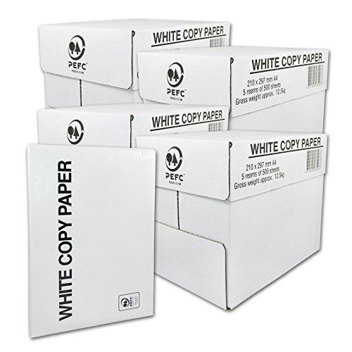 10000 Blatt White Copy Paper Kopierpapier Druckerpapier Papier, DIN A4, 75g/m², für Laserdrucker, Tintenstrahldrucker, 10.000 Seiten, weiß