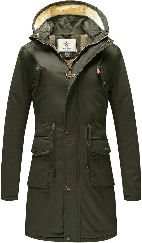 WenVen Women's Winter Cotton Jacket with Drawstring Hoodie