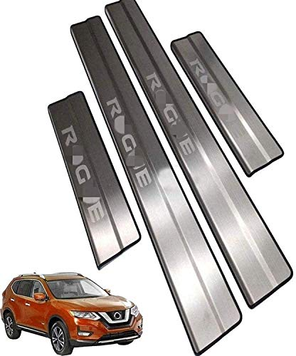 YRRC-ZTCar Threshold Sticker Guard For Used For 4Pcs Car External Guard Kick Plate, For Rogue 2014-2020 Door Sill Scuff Protection Threshold Cover Pedal, Stainless Steel Sticker Trim