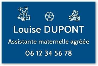 Personaliseerbaar bord voor de kleuterschool, personaliseerbaar, 30 x 20 cm, blauwe witte letters, 3M-plakband