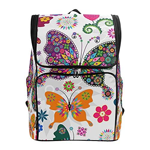 PUXUQU - Zaino per la scuola con fiori floreali e farfalle, zaino per computer portatile, borsa da viaggio, borsa a tracolla per bambini e donne