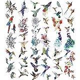 30 Sheets Watercolor Hummingbirds Temporary Tattoo Sticker Birds Waterproof Tattoos Stickers Birds Tattoos Stickers Decorations Temporary Colorful Flower Fake Face Tattoo for Women Men Body Art