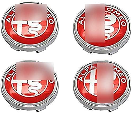 YYYYDS 4 Piezas Coche Tapas Centrales de Llantas para Alfa Romeo Mito 147 156 159 166,Aluminio Cubierta Centro Rueda Coche,Prueba Polvo Rueda Tapas De Centro Logo,Coche Accesorios,60mm
